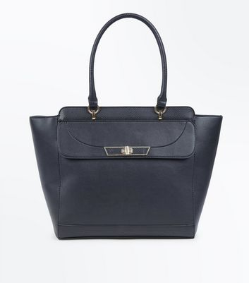 Black Twist Lock Tote Bag by New Look