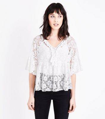 White Lace Tassel  Neck Front Top