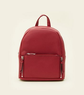Dark Red Zip Top Curved Mini Backpack by New Look