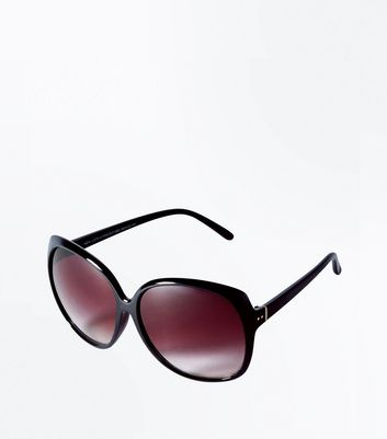Black Rectangle Frame Oversized Sunglasses