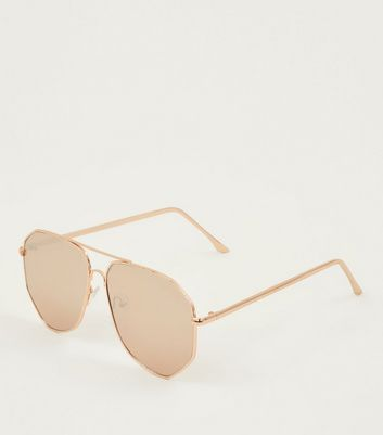 Rose Gold Hexagonal Aviator Style Sunglasses