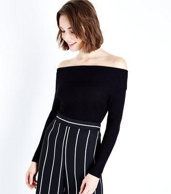 Black Ribbed Fold Over Bardot Neck Top