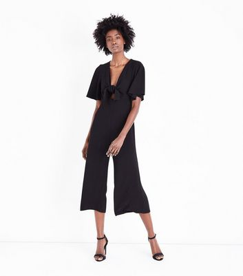 Black Crepe Cropped Jumpsuit
