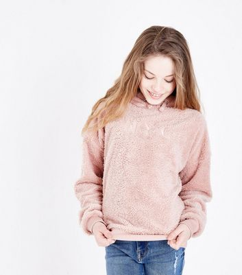 "Teenager – Hellrosa Kapuzenpullover mit ""NYC""-Stickerei"
