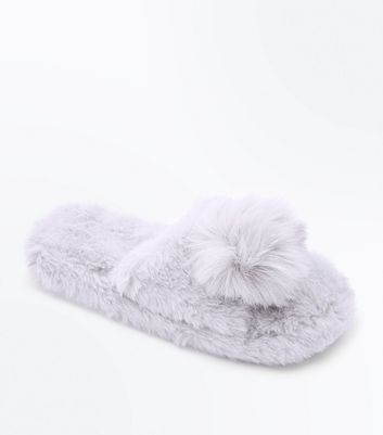 Grey Faux Fur Pom Pom Sliders