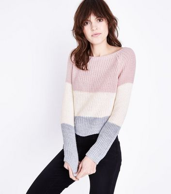 Cameo Rose Pink Colour Block Stripe Jumper