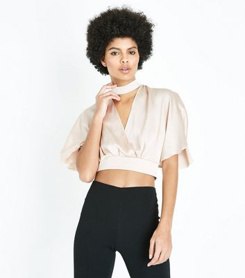 Cameo Rose Pink Satin Cape Sleeve Crop Top