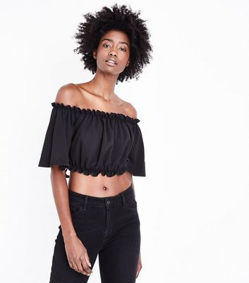Black Tie Back Bardot Neck Crop Top