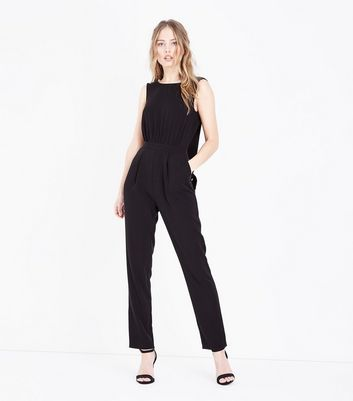 Black Plunge Tie Back Jumpsuit by New Look