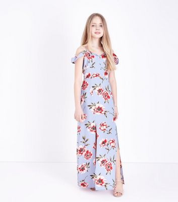 Teens Blue Floral Maxi Dress