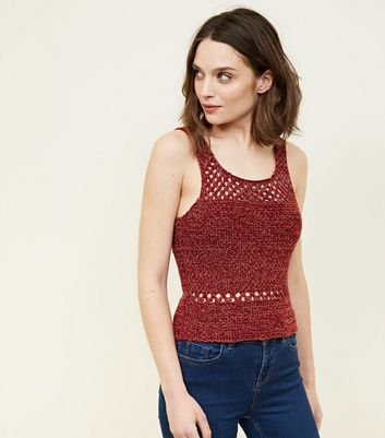 Red Twist Yarn Crochet Vest