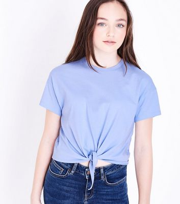 Teens Pale Blue Tie Front T-Shirt