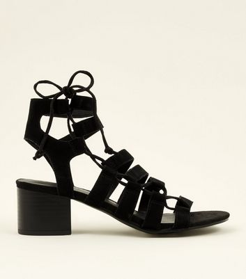 Black Suede Ghillie Lace Up Heeled Sandals