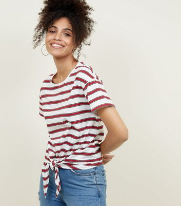 Red Stripe Tie Front T-Shirt
