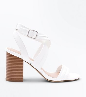 White Cross Strap Wood Heel Sandals
