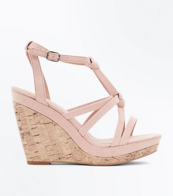 Nude Suedette Knot Strap Cork Wedges