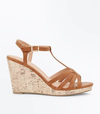 Tan Strappy T-Bar Cork Wedges
