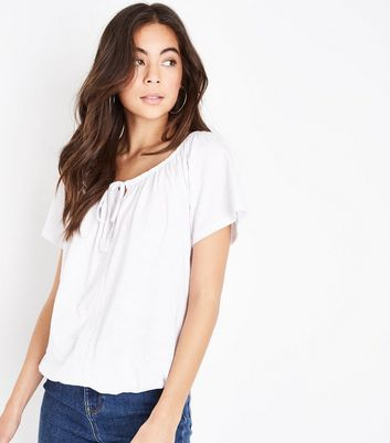 White Tassel Tie Lace Trim T-Shirt