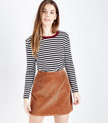 Tan Corduroy A-Line Mini Skirt