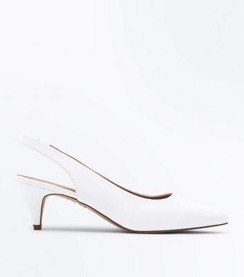 White Leather Look Slingback Kitten Heel Courts by New Look