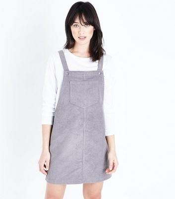 Grey Corduroy Pocket Front Pinafore Dress