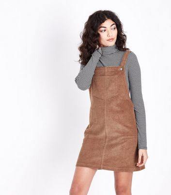 Tan Corduroy Pocket Front Pinafore Dress