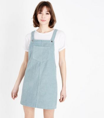 Mint Green Corduroy Pocket Front Pinafore Dress