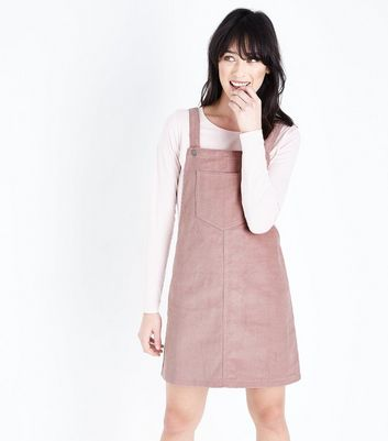 Mid Pink Corduroy Pocket Front Pinafore Dress