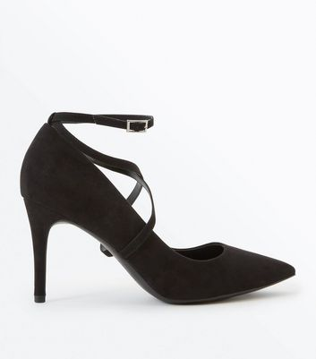 Black Suedette Strappy Pointed Courts