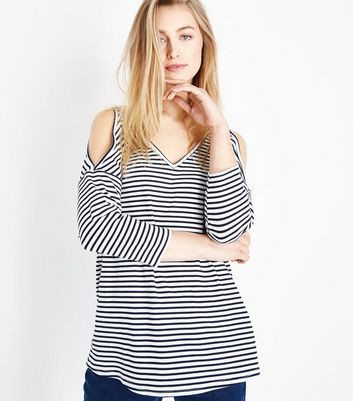 White Stripe Oversized Cold Shoulder Top