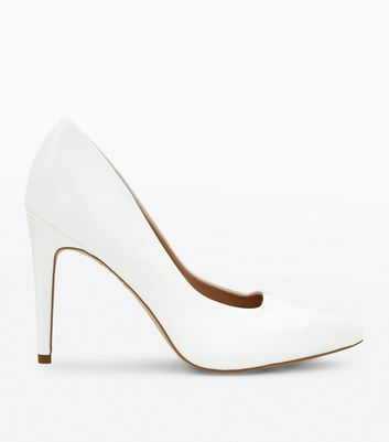 White Square Front Pointed Court Shoes