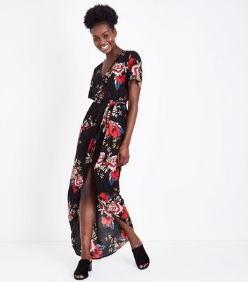 Black Floral Dip Hem Wrap Front Midi Dress