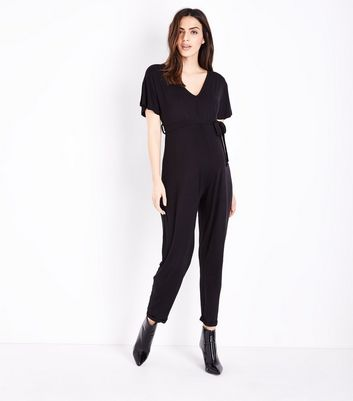 Maternity Black Belted Jersey Jumpsuit