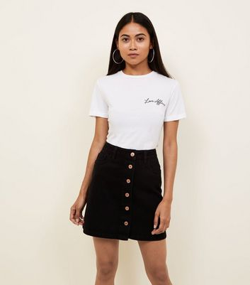 Petite Black Denim Button Front Mini Skirt