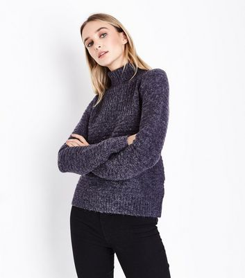 Apricot Navy Fluffy Roll Neck Jumper