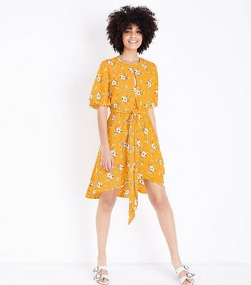 Yellow Floral Tie Front Midi Dress
