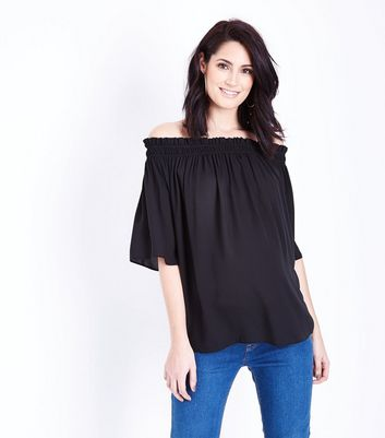 Maternity Black 1/2 Sleeve Bardot Neck Top
