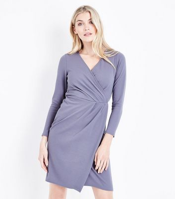 Grey Crepe Long Sleeve Wrap Front Dress