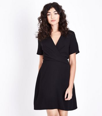 Black Wrap Front Tunic Dress