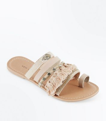 Nude Leather Embellished Tassel Strap Sandals