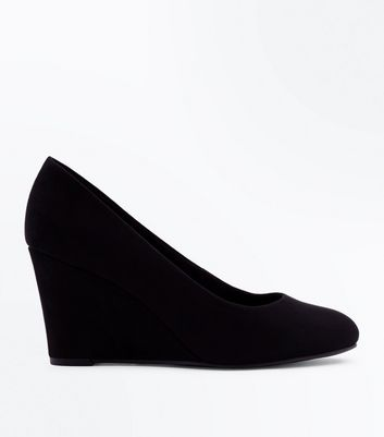 Black Comfort Suedette Low Wedges
