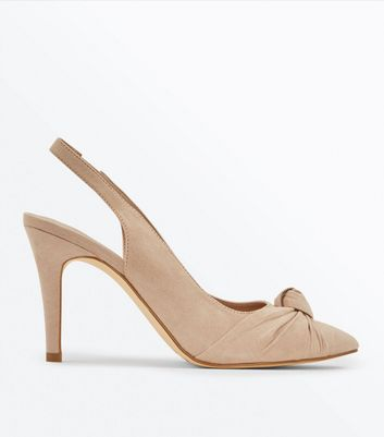 Nude Suedette Knot Pointed Slingbacks