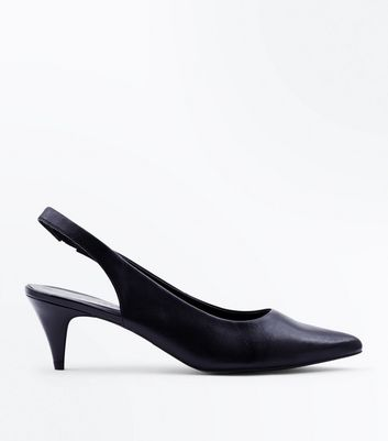 Black Leather Kitten Heel Slingbacks