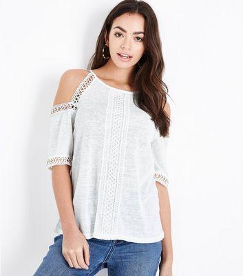 Black Crochet Hem Cold Shoulder T-Shirt; White Fine Knit Lace Trim Cold  Shoulder Top
