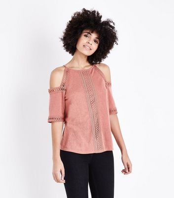 Pink Fine Knit Lace Trim Cold Shoulder Top