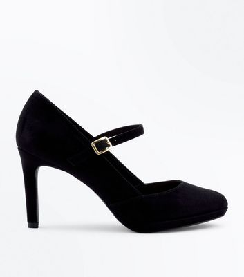 Black Comfort Suedette Mary Jane Courts