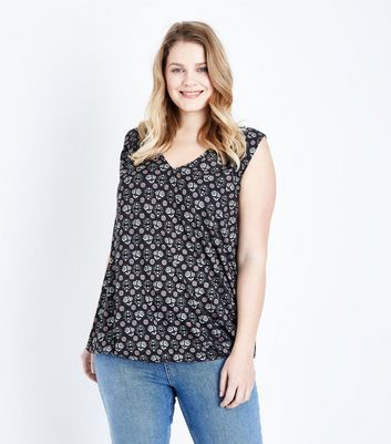 Curves Black Floral Sleeveless Top
