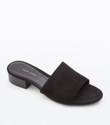 Black Suedette Low Wood Heel Mules