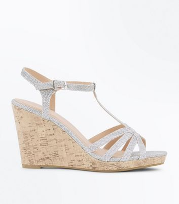 Silver Glitter Strappy T-Bar Cork Wedges