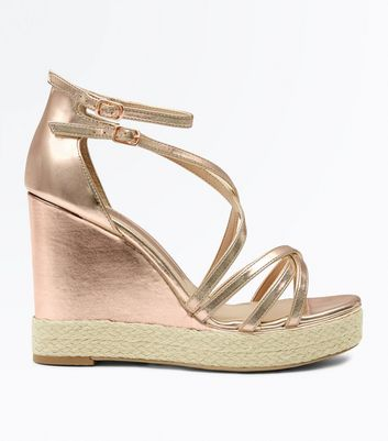 Rose Gold Strappy Platform Espadrille Wedges